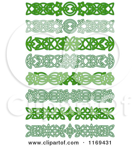 Clipart of Green Celtic Knot Border Rules and Dividers 2 - Royalty ...