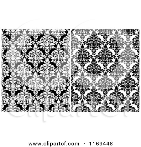 Clipart of Black and White Damask Patterns - Royalty Free Vector Illustration by Vector Tradition SM
