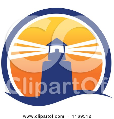 Clipart of a Lighthouse and Beacon at Sunset 2 - Royalty Free Vector Illustration by Vector Tradition SM