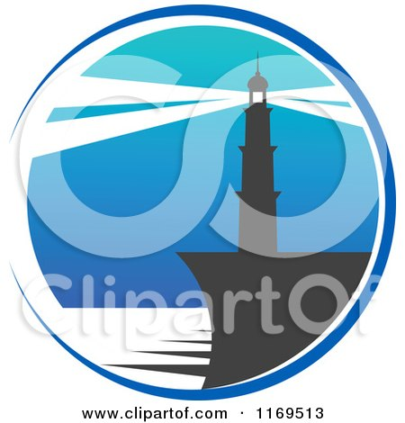 Clipart of a Lighthouse and Beacon over Blue - Royalty Free Vector Illustration by Vector Tradition SM