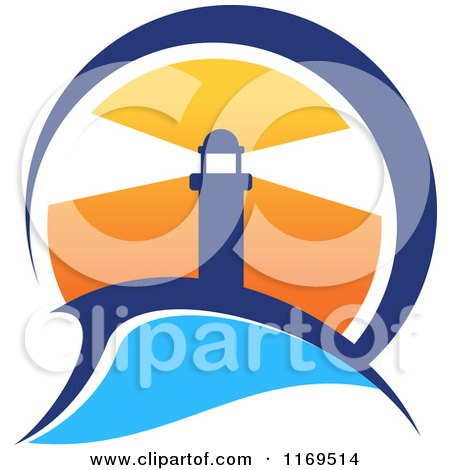 Clipart of a Lighthouse and Beacon at Sunset - Royalty Free Vector Illustration by Vector Tradition SM