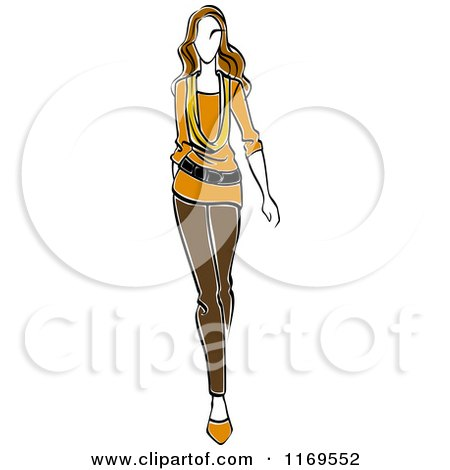 Clipart of a Sketched Model Walking in Blouse and Pants - Royalty Free Vector Illustration by Vector Tradition SM