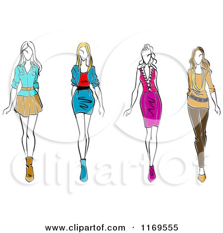 Clipart of a Sketched Fashion Models Walking - Royalty Free Vector Illustration by Vector Tradition SM