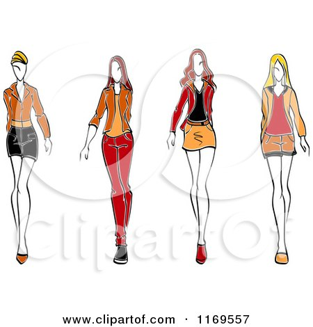 Clipart of a Sketched Fashion Models Walking 2 - Royalty Free Vector Illustration by Vector Tradition SM