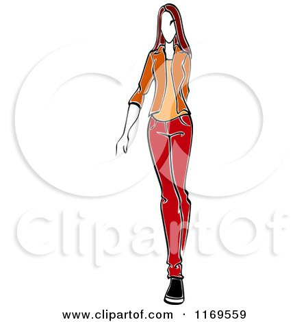 Clipart of a Sketched Model Walking in a Blazer and Pants - Royalty Free Vector Illustration by Vector Tradition SM