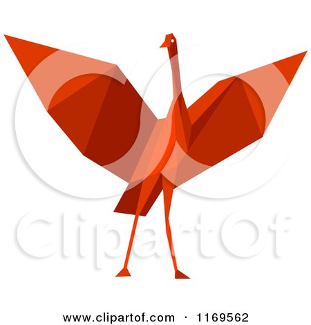 Clipart of a Red Origami Heron Stork or Crane - Royalty Free Vector Illustration by Vector Tradition SM