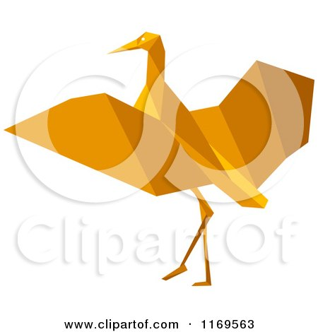 Clipart of an Orange Origami Heron Stork or Crane - Royalty Free Vector Illustration by Vector Tradition SM