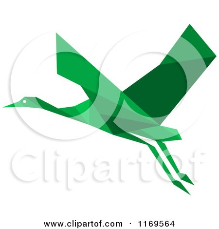 Clipart of a Flying Green Origami Heron Stork or Crane 2 - Royalty Free Vector Illustration by Vector Tradition SM