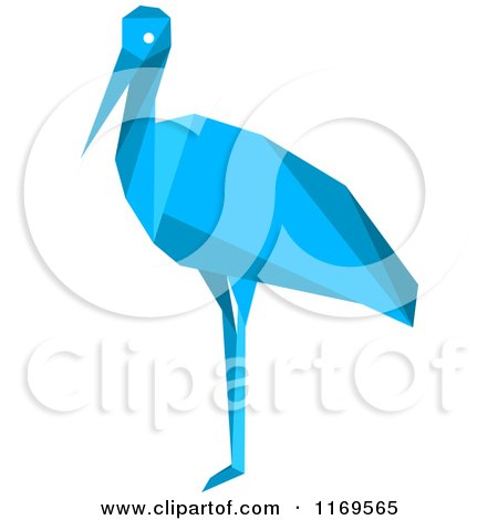 Clipart of a Blue Origami Heron Stork or Crane - Royalty Free Vector Illustration by Vector Tradition SM