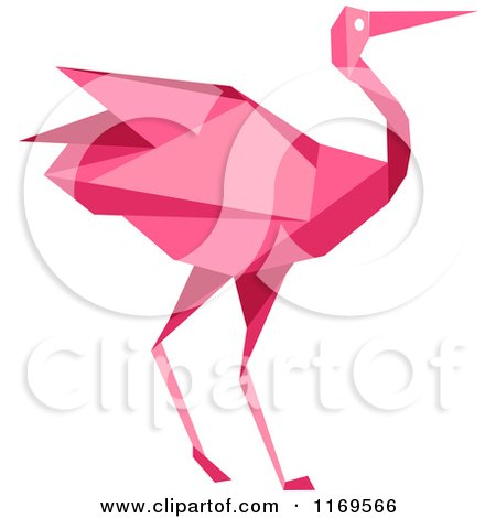 Clipart of a Pink Origami Heron Stork or Crane - Royalty Free Vector Illustration by Vector Tradition SM