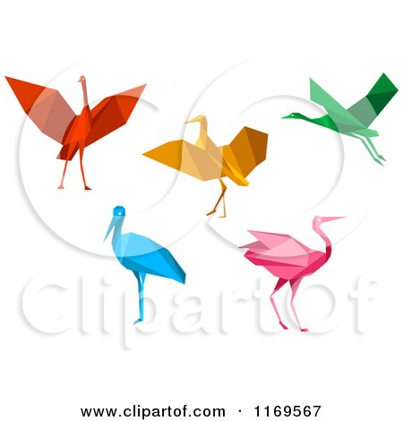 Clipart of Colorful Origami Heron Stork or Cranes - Royalty Free Vector Illustration by Vector Tradition SM