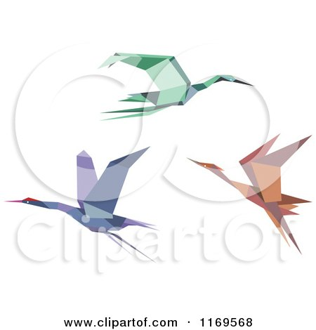Clipart of Flying Origami Heron Stork or Cranes - Royalty Free Vector Illustration by Vector Tradition SM