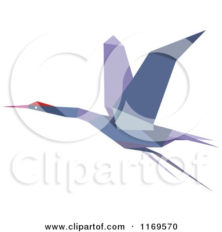 Clipart of a Flying Purple Origami Heron Stork or Crane - Royalty Free Vector Illustration by Vector Tradition SM