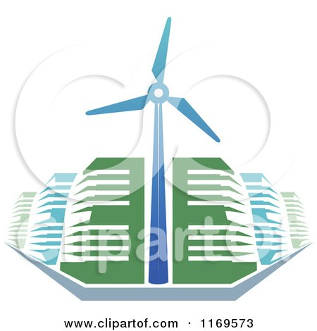 Clipart Of Green And Blue Energy Efficient Buildings And A Windmill Turbine Royalty Free Vector Illustration