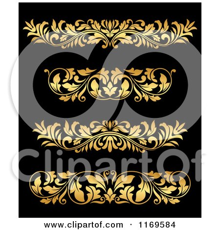 Clipart of Golden Flourish Rule and Border Design Elements 17 - Royalty Free Vector Illustration by Vector Tradition SM