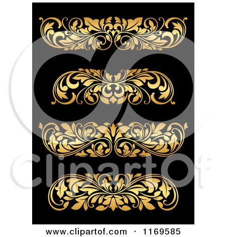 Clipart of Golden Flourish Rule and Border Design Elements 19 - Royalty Free Vector Illustration by Vector Tradition SM