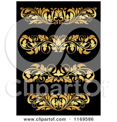 Clipart of Golden Flourish Rule and Border Design Elements 18 - Royalty Free Vector Illustration by Vector Tradition SM