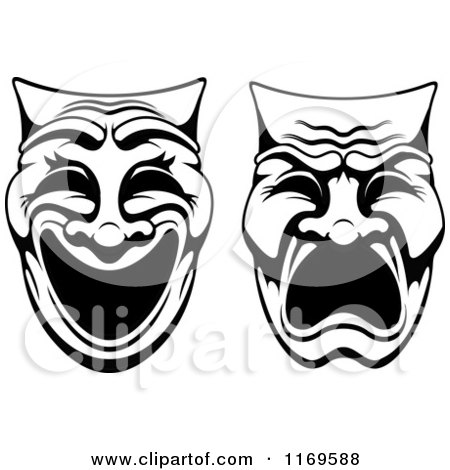 Clipart of Comedy Drama Theater Masks - Royalty Free Vector ...