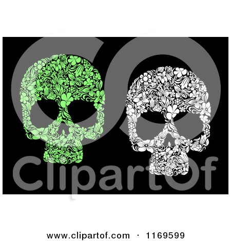 Clipart of Green and White Floral Skulls on Black - Royalty Free Vector Illustration by Vector Tradition SM