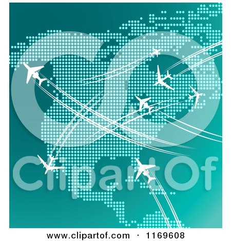 Clipart of Airplanes Flying over North America in Turquoise Tones - Royalty Free Vector Illustration by Vector Tradition SM