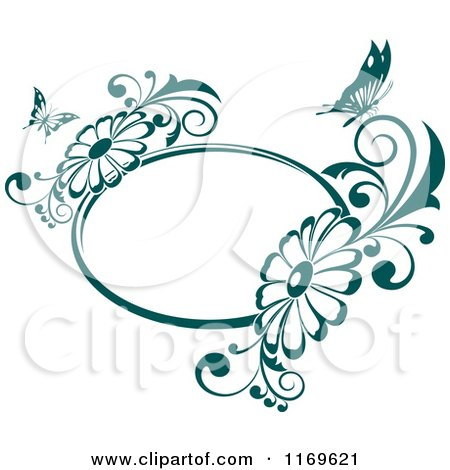 Clipart of an Oval Butterfly Daisy Frame in Teal - Royalty Free Vector Illustration by Vector Tradition SM