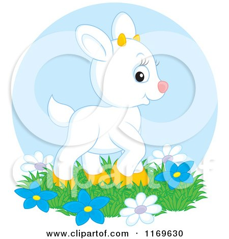 Cartoon of a Cute White Baby Goat Kid with Flowers over a Blue Circle - Royalty Free Vector Clipart by Alex Bannykh