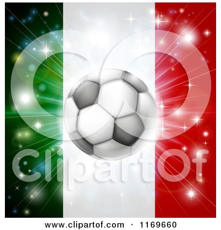 Clipart of a Soccer Ball over a Italy Flag with Fireworks - Royalty Free Vector Illustration by AtStockIllustration