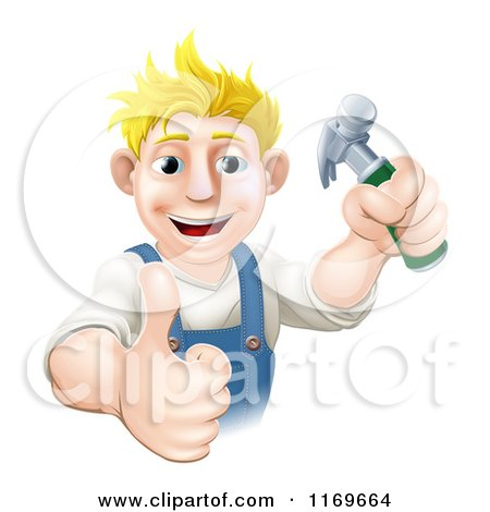 Happy Blond Carpenter Man Holding a Hammer and Thumb up Posters, Art Prints