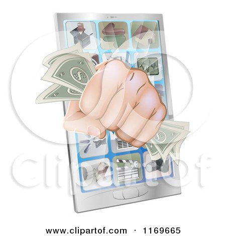 Clipart of a Fist with Cash Emerging from a Smart Phone - Royalty Free Vector Illustration by AtStockIllustration