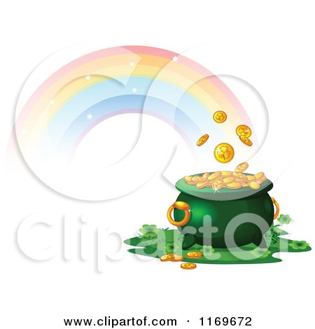 Cartoon Of A Rainbow And A Leprechauns Pot Of Gold Royalty Free Vector Clipart