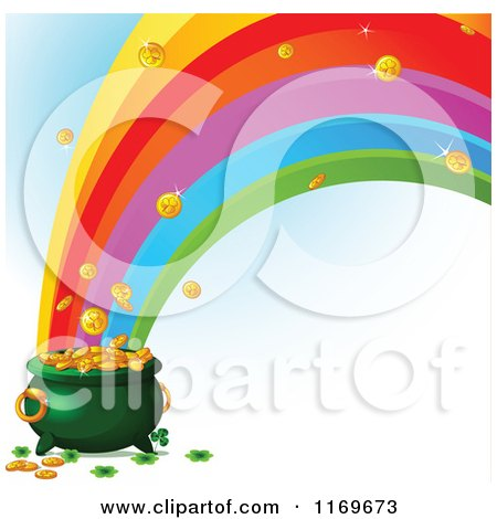 Cartoon of a Rainbow Crashing into a Leprechauns Pot of Gold - Royalty Free Vector Clipart by Pushkin