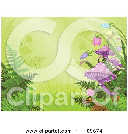 Clipart of a Rainforest Background with Ferns Bellflowers and Mushrooms - Royalty Free Vector Illustration by Pushkin