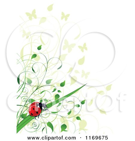 Clipart of a Ladybug Butterfly and Foliage Background - Royalty Free Vector Illustration by Pushkin