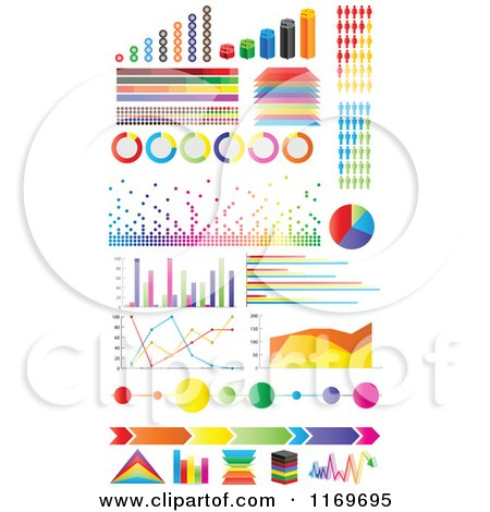 Clipart of Colorful Informational Statistic Graphics - Royalty Free Vector Illustration by Andrei Marincas