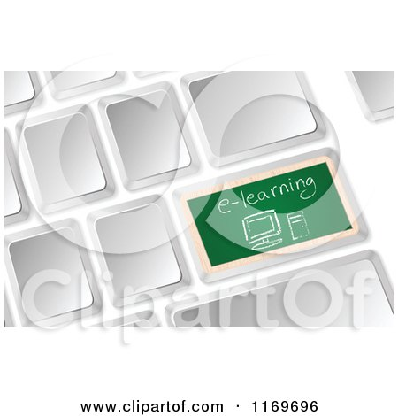 Clipart of a 3d Computer Keyboard with a Chalkboard E Learning Button - Royalty Free Vector Illustration by Andrei Marincas