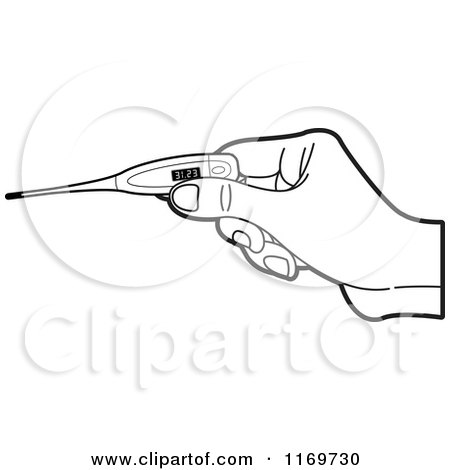 Clipart of a Black and White Hand Holding a Digital Thermometer - Royalty Free Vector Illustration by Lal Perera