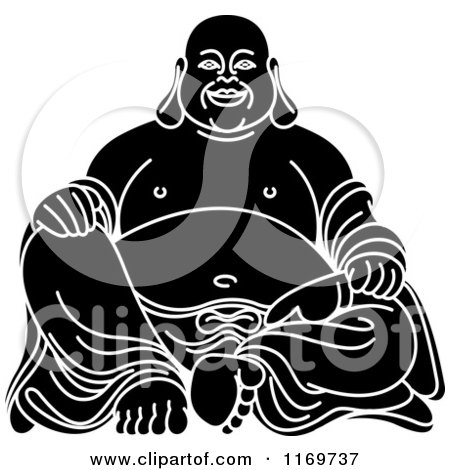 Clipart of a Black and White Laughing Buddha - Royalty Free Vector Illustration by Lal Perera