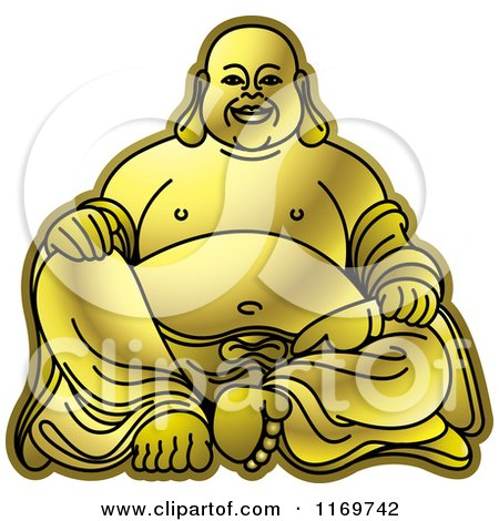 Clipart of a Gold Laughing Buddha - Royalty Free Vector Illustration by Lal Perera