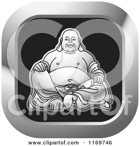 Clipart of a Silver and Black Square Laughing Buddha Icon - Royalty Free Vector Illustration by Lal Perera