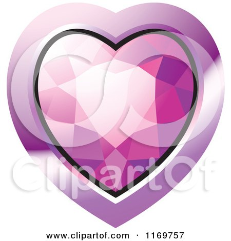 Clipart of a Heart Shaped Pink Diamond or Gemstone with a Purple Frame - Royalty Free Vector Illustration by Lal Perera