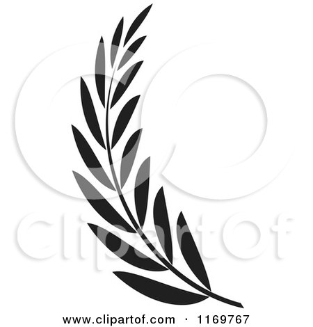 Clipart Of A Black And White Olive Branch Royalty Free
