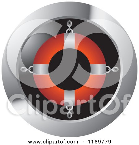 Clipart of a Round Icon with a Red and Silver Life Buoy - Royalty Free Vector Illustration by Lal Perera