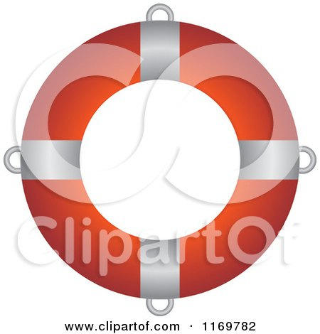 Clipart of a Red and White Life Buoy 2 - Royalty Free Vector Illustration by Lal Perera