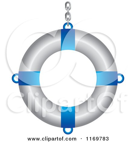 Clipart of a Blue and White Life Buoy with a Chain 2 - Royalty Free Vector Illustration by Lal Perera