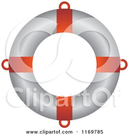 Clipart of a Red and White Life Buoy - Royalty Free Vector Illustration by Lal Perera