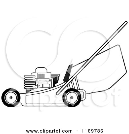 Lawn Mower Clipart Black And White Clipart of a black and white