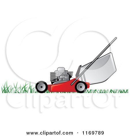 Red Push Lawn Mower on Grass Posters, Art Prints