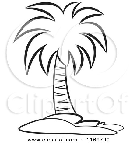 Clipart of a Black and White Palm Tree - Royalty Free ...