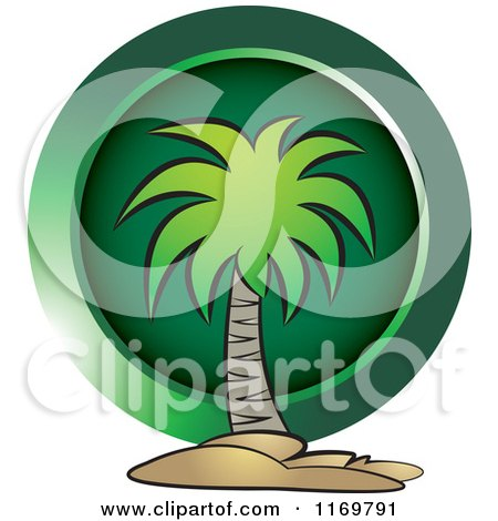 Clipart of a Palm Tree over a Green Circle - Royalty Free Vector Illustration by Lal Perera