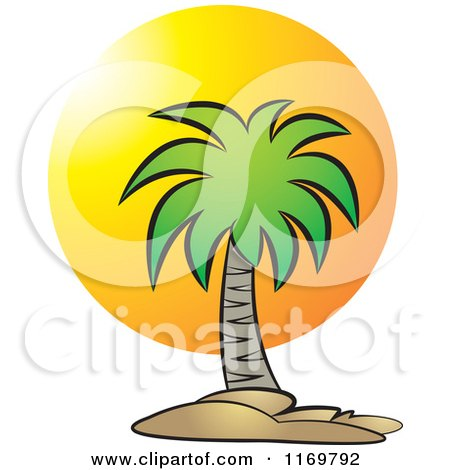 Clipart of a Palm Tree over a Sunset - Royalty Free Vector Illustration by Lal Perera